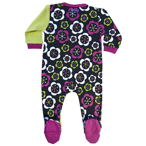 SOZO Girls Embroidered Fall Flower Footie with Anti Skid Feet. - JEN'S KIDS BOUTIQUE