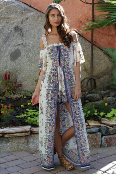 Spring Women's Cream Off The Shoulder Floral Maxi Romper With Surplus the New Misses Line - JEN'S KIDS BOUTIQUE