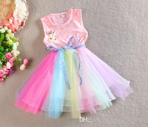 2018 Spring Easter Rainbow Color Easter Dress Pre Order