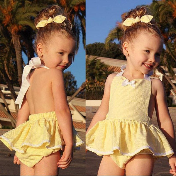 2018 Summer Cutie Pie Yellow Romper Dress With Headband - JEN'S KIDS BOUTIQUE