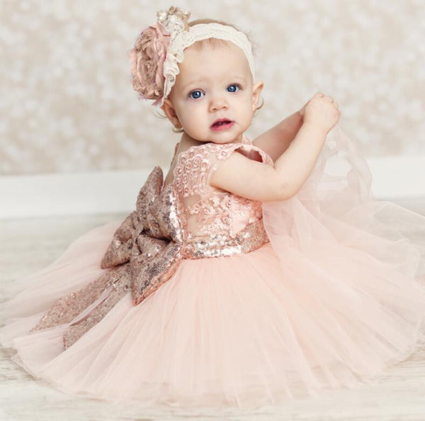 Milkydoo Big Bow Peach Easter Dress - JEN'S KIDS BOUTIQUE