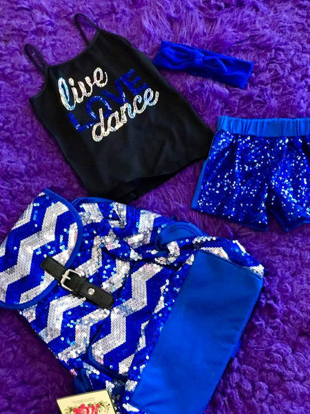Hopes Chest Dance Sparkle Sequin Shorts Blue - JEN'S KIDS BOUTIQUE