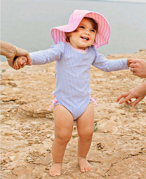 Summer Pink Polka Dot & Stripped Reversible Swim Hat - JEN'S KIDS BOUTIQUE