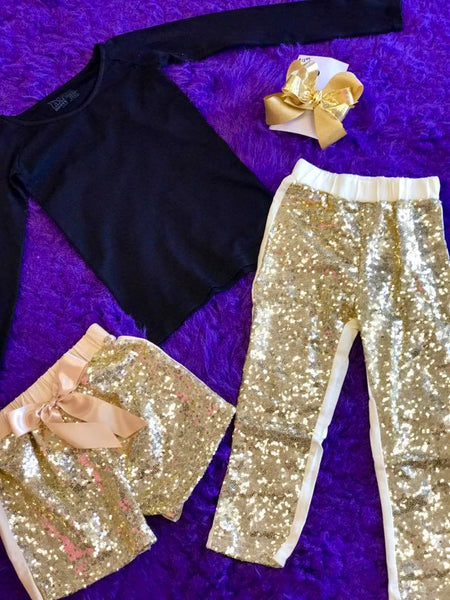 Jubilee Girls Sequin Dance Bow Shorts Gold - JEN'S KIDS BOUTIQUE