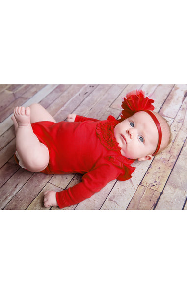 Lemon Loves Layette Red Ruffle Madison Onesie - JEN'S KIDS BOUTIQUE