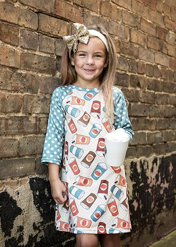 Spring Mommy & Me Kids Pumpkin Spice Lattes & Polka Dots Dots Raglan Dress - JEN'S KIDS BOUTIQUE