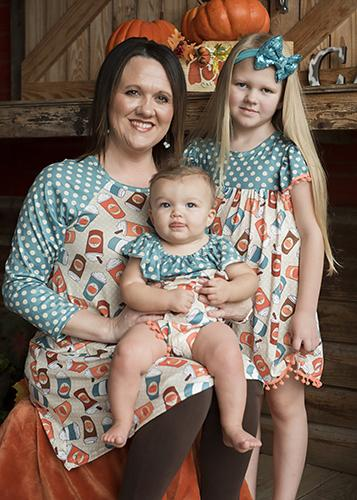 2018 Spring Mommy & Me Women's Pumpkin Spice Lattes & Polka Dots Dots Raglan Dress - JEN'S KIDS BOUTIQUE