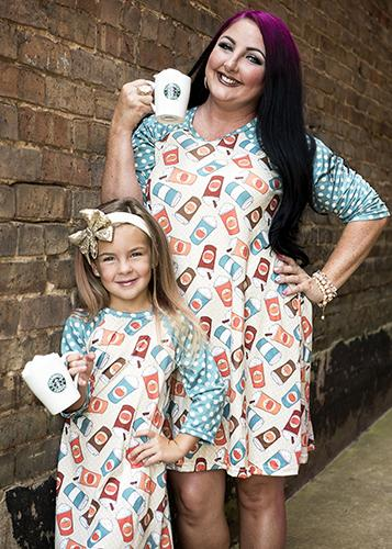 Spring Mommy & Me Women's Pumpkin Spice Lattes & Polka Dots Dots Raglan Dress - JEN'S KIDS BOUTIQUE
