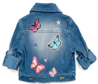 Baby Sara 2017 Fall Denim Jacket W/Patches Embrodiery And Fuzzy Trim - JEN'S KIDS BOUTIQUE
