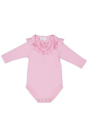 Lemon Loves Layette Dusty Rose Pink Madison Ruffle Onesie - JEN'S KIDS BOUTIQUE