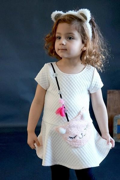 Baby Sara 2017 Fall S/S Drop Waist Skater Dress W/Faux Kittin Purse Detail - JEN'S KIDS BOUTIQUE