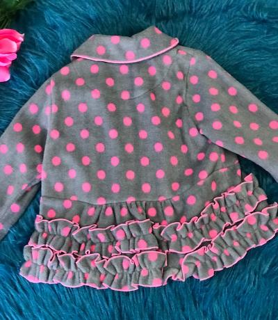 Isobella & Chloe Baby Girls Claire Grey Fuchsia Dotted Flower Ruffle Coat CL - JEN'S KIDS BOUTIQUE