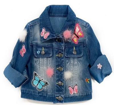 Baby Sara Fall Denim Jacket W/Patches Embrodiery And Fuzzy Trim - JEN'S KIDS BOUTIQUE