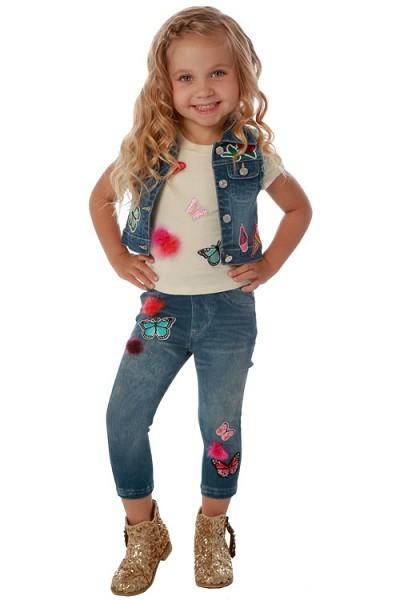 Baby Sara Fall Jeggings w/Butterfly Patches And Fuzzy Trim - JEN'S KIDS BOUTIQUE