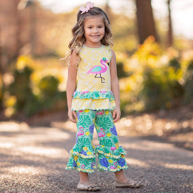 2019 SPRING TROPICAL FLAMINGO TUNIC & CAPRIS SUMMER OUTFIT CLOTHING - JEN'S KIDS BOUTIQUE