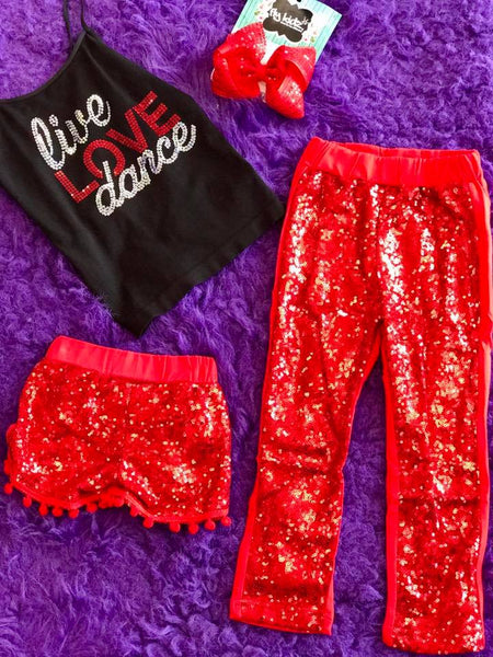 Hopes Chest Dance Sparkle Sequin Shorts Red