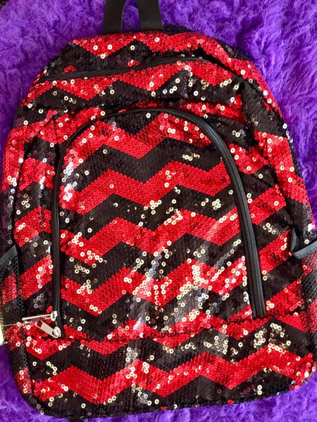 Spirit Sequin Bling Med Backpack red and black two sided magnetic closer - JEN'S KIDS BOUTIQUE