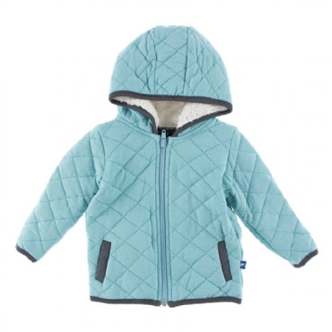 KicKee Pants 2017 Fall Boys Quilted Jacket With Sherpa- Lined Hood Glacier With Stone - JEN'S KIDS BOUTIQUE