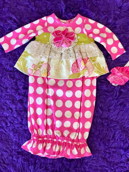 Peaches N Cream Fall Hot Pink & Moss Ruffle Infant Gown - JEN'S KIDS BOUTIQUE