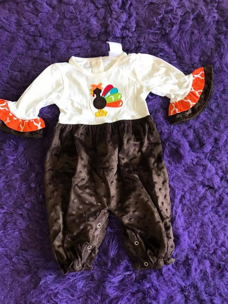 B & A Cute As A Button Applique Girls Turkey Romper THCL - JEN'S KIDS BOUTIQUE