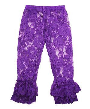 Princess Halloween  Purple Lace/Ruffle Leggings - JEN'S KIDS BOUTIQUE