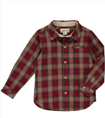 New Fall Me & Henry Red And Brown Plaid Shirt 100% Cotton - JEN'S KIDS BOUTIQUE