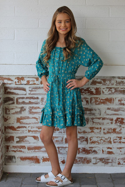 New Fall Angies Green Floral Dress With Ruffles And Ties In Front - JEN'S KIDS BOUTIQUE