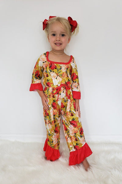 New Fall Ruby Marigold Botanical Web Girls Romper - JEN'S KIDS BOUTIQUE