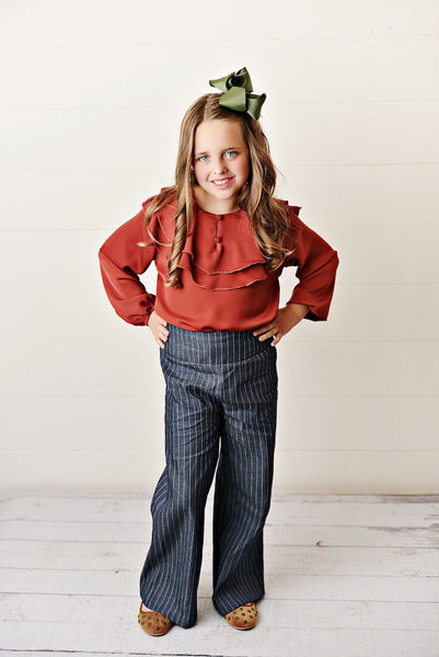 Fall Pre-Teen Rust Ruffle Pant Set - JEN'S KIDS BOUTIQUE