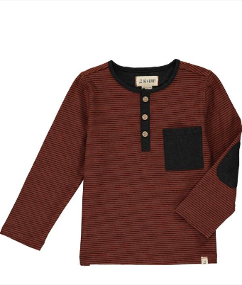 New Fall Me & Henry Rust Stripe Henley Shirt 100% Cotton. - JEN'S KIDS BOUTIQUE
