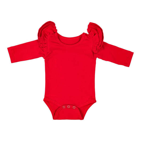 New Fall Light Red L/S Flutter Bodysuit - JEN'S KIDS BOUTIQUE