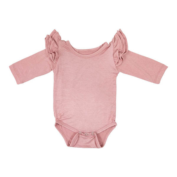 New Fall Vintage Pink L/S Flutter Bodysuit - JEN'S KIDS BOUTIQUE