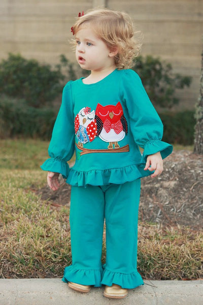 New Fall Teal Owl Fun Two Piece Pant Set - JEN'S KIDS BOUTIQUE
