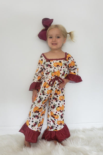 New Fall Autumn Pumpkin Girls Romper - JEN'S KIDS BOUTIQUE