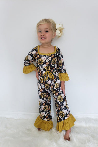 New Fall Midnight Gold Floral Girls Romper - JEN'S KIDS BOUTIQUE