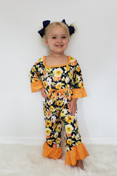 New Fall Wildflower Floral Girls Romper - JEN'S KIDS BOUTIQUE