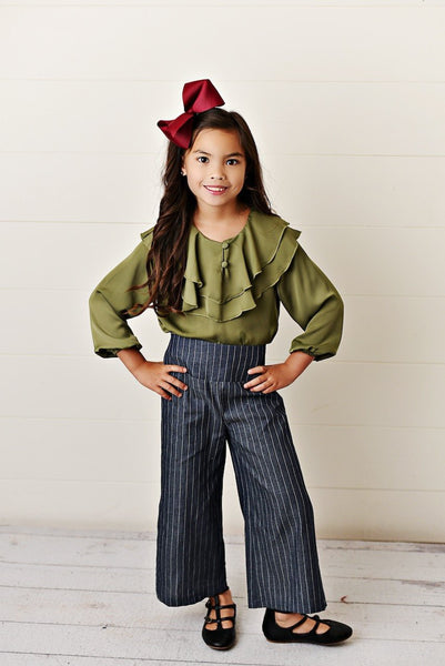 New Fall Pre- Teen Olive Ruffle Pant Set - JEN'S KIDS BOUTIQUE