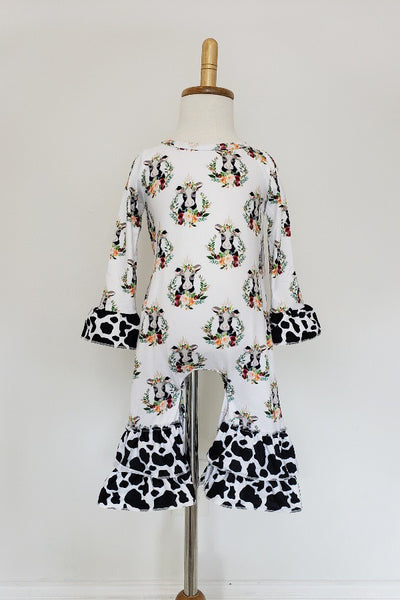 New Fall Cow Portrait Baby Fun Romper - JEN'S KIDS BOUTIQUE