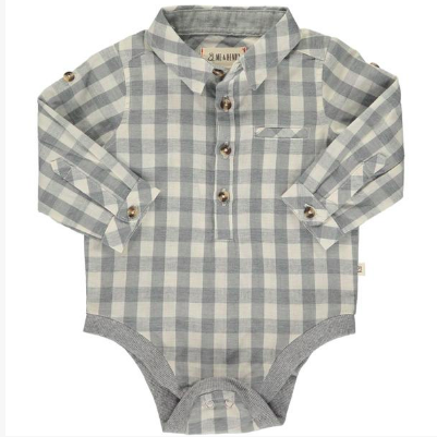 New Fall Me & Henry Gray & White Plaid Woven Onesie 100% Cotton - JEN'S KIDS BOUTIQUE