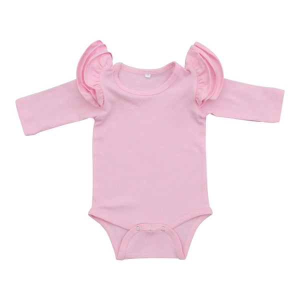 New Fall Light Pink L/S Flutter Bodysuit - JEN'S KIDS BOUTIQUE