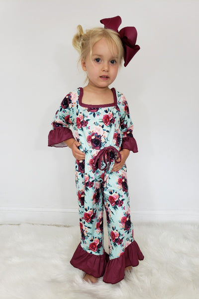 New Fall Aqua Burgundy Floral Girls Romper - JEN'S KIDS BOUTIQUE