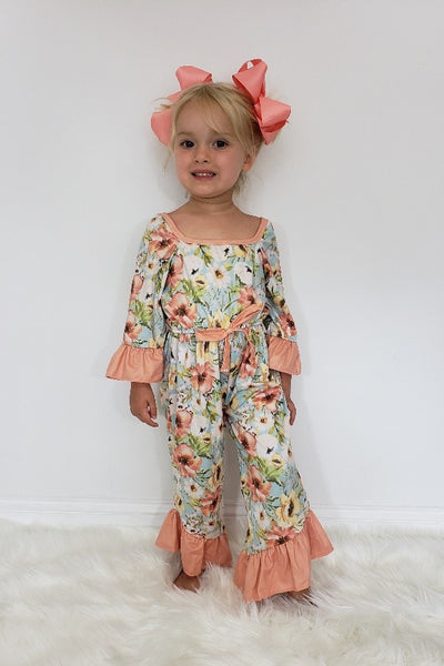 New Fall Dusty Blue Vintage Girls Romper - JEN'S KIDS BOUTIQUE