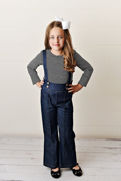 New Fall Pre- Teen Black Shirt & Suspender Pant Set - JEN'S KIDS BOUTIQUE