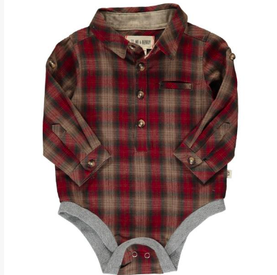 New Fall Me & Henry Red & Brown Plaid Woven Onesie 100% Cotton - JEN'S KIDS BOUTIQUE