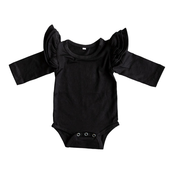 New Fall Black L/S Flutter Bodysuit - JEN'S KIDS BOUTIQUE