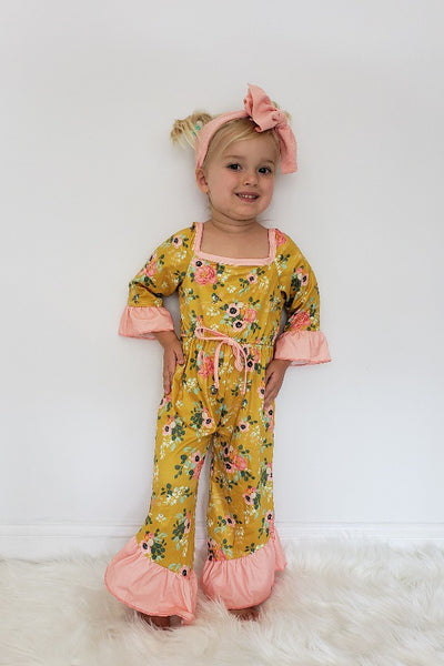 New Fall Mustard Peachy Floral Girls Romper - JEN'S KIDS BOUTIQUE