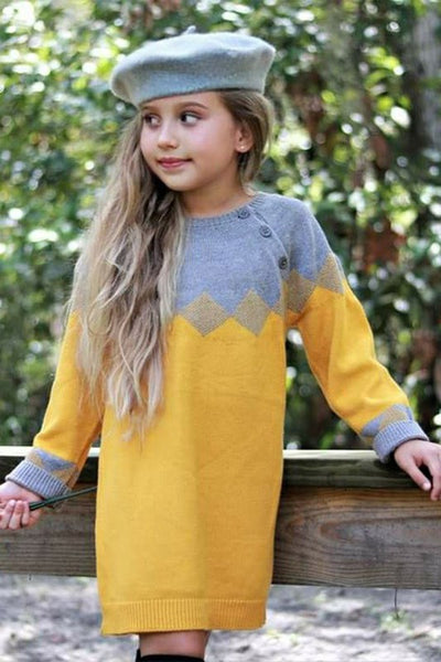 New Fall Two Tone Trendy Tunic Sweater Mustard - JEN'S KIDS BOUTIQUE