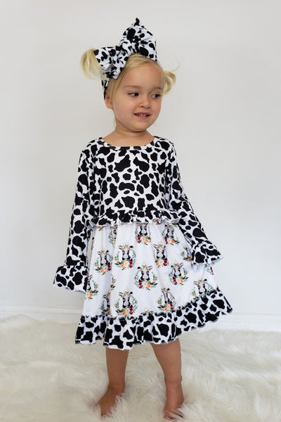 New Fall Cow Portrait Dress - JEN'S KIDS BOUTIQUE