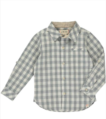 New Fall Me & Henry Gray & White Plaid Shirt 100% Cotton. - JEN'S KIDS BOUTIQUE