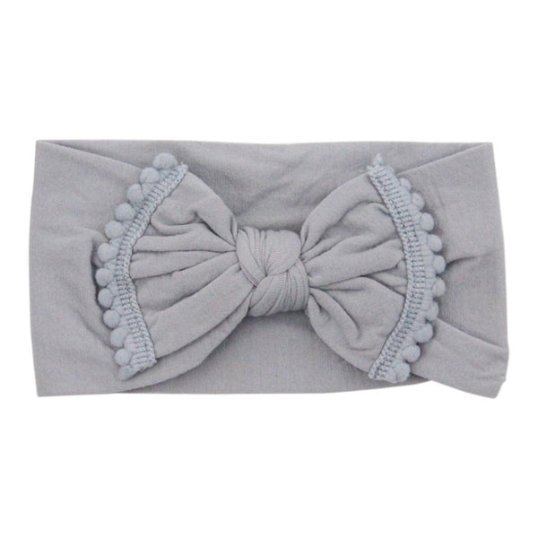 Pom Pom Nylon Headwrap Gray - JEN'S KIDS BOUTIQUE
